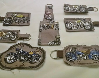 Motorcycle Fabric Keyring, Motorbike Keyfob Brown Keychain
