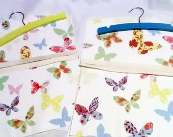 Butterfly Peg Bag with Wood Hanger, Lined Laundry Bag, made in Yorkshire to order