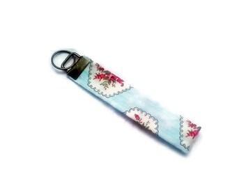 Blue Floral Wrist Keyfob, Fabric Keychain Hand Made in Yorkshire