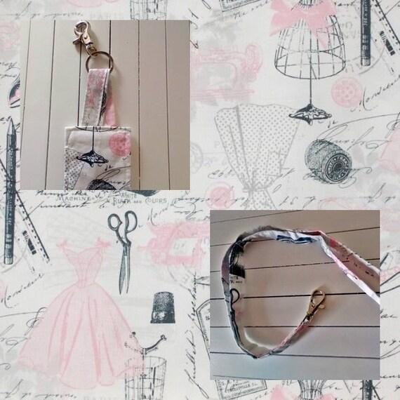 Pink Keyring and Lanyard, Pink Keyfob, Bag Charm, Housewarming Gift Set