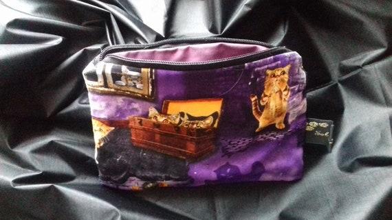 Halloween Make Up Bag, Purple Zip Travel Pouch, Halloween Cosmetic Bag