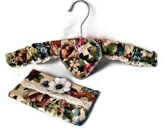 Sanderson Linen Gift Set, Coat hanger, Tissue Case, handmade in Yorkshire