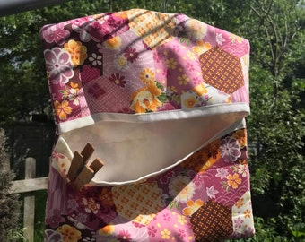 Lined Peg Bag, Pink Cotton Laundry Bag, Wood Hanger made to order handmade in Yorkshire