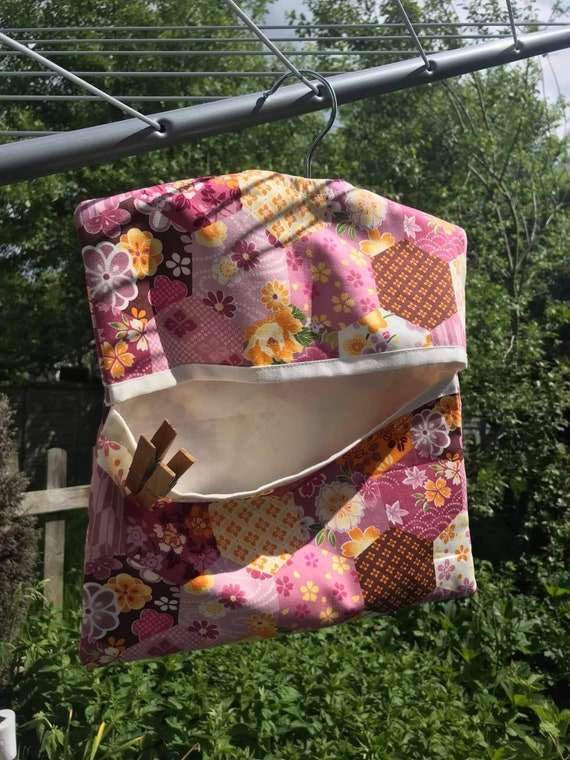 Lined Peg Bag, Pink Cotton Laundry Bag, made to order handmade in Yorkshire