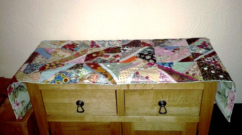 Upcycled Patchwork Embroidered Table Runner Handmade in image 0