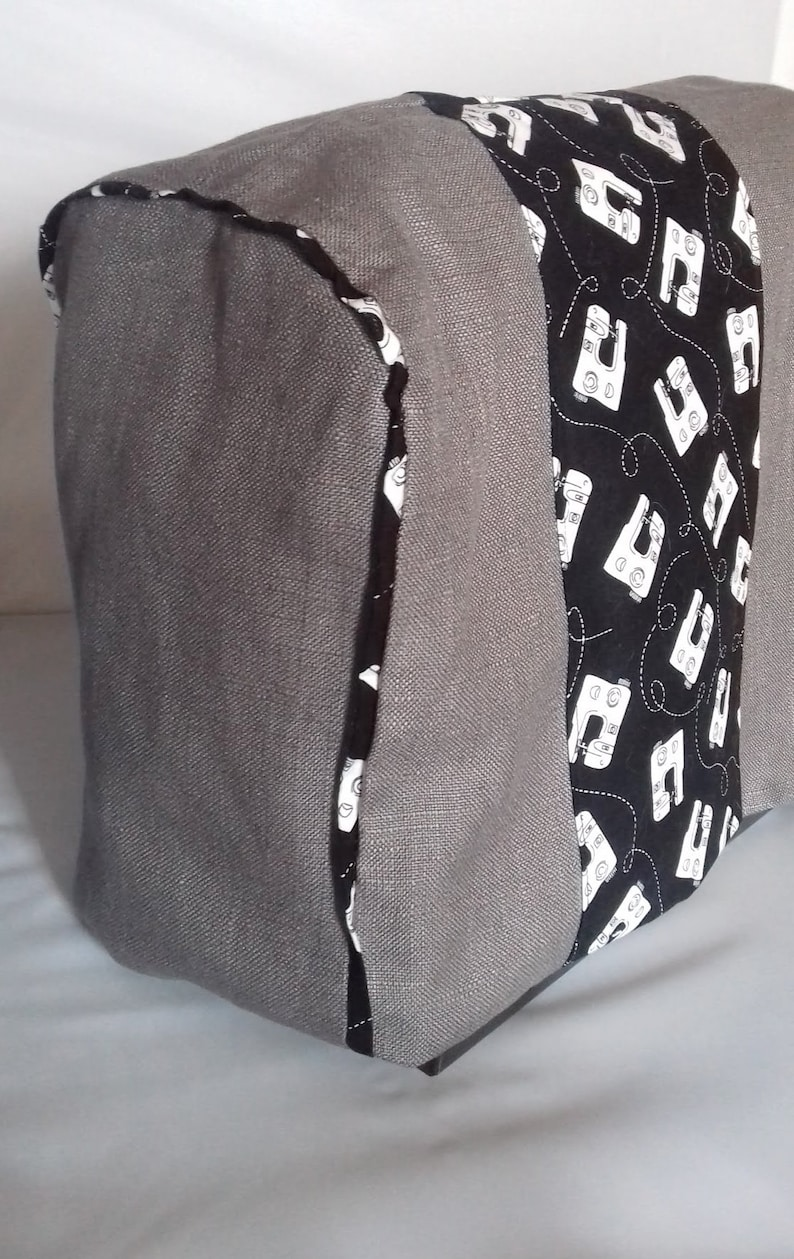 Grey Linen Sewing Machine Cover handmade in Yorkshire image 0