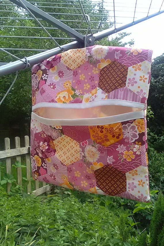 Lined Peg Bag, Pink Cotton Laundry Bag, handmade in Yorkshire