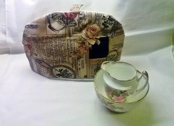 Linen Tea Cosy, Rose Applique Tea Pot Cover, Housewarming Gift