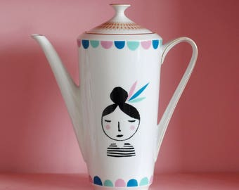 SALE! Large girl with feathers in her hair screenprinted vintage teapot