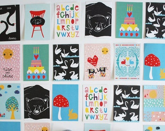 SALE! Large set of 14 different illustrated colorful postcards