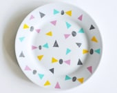 FINAL STOCK SALE! Bows and triangles breakfast plate