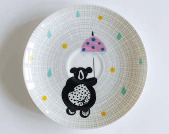 SALE! Illustrated small vintage cake plate Circus bear on a bike