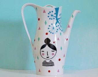 SALE! Large screenprinted vintage teapot 'Girl'