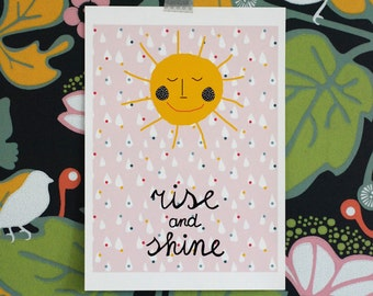 SALE! A3 size large poster/ Rise and shine sun sunshine