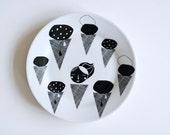 FINAL STOCK SALE! Icecream mix breakfast plate monochrome black and white