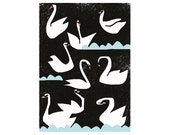 SALE! Extra large poster Night swans