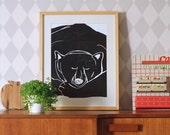 SALE! Bear asleep A3 size poster
