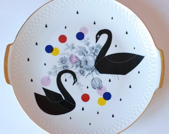 SALE! Very large cake/serving plate platter Black swans, dots and raindrops
