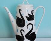 SALE! Large teapot black swans and raindrops