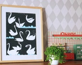 SALE! A3 size swan poster Night Swans