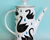 SALE! Very large teapot black swans and raindrops