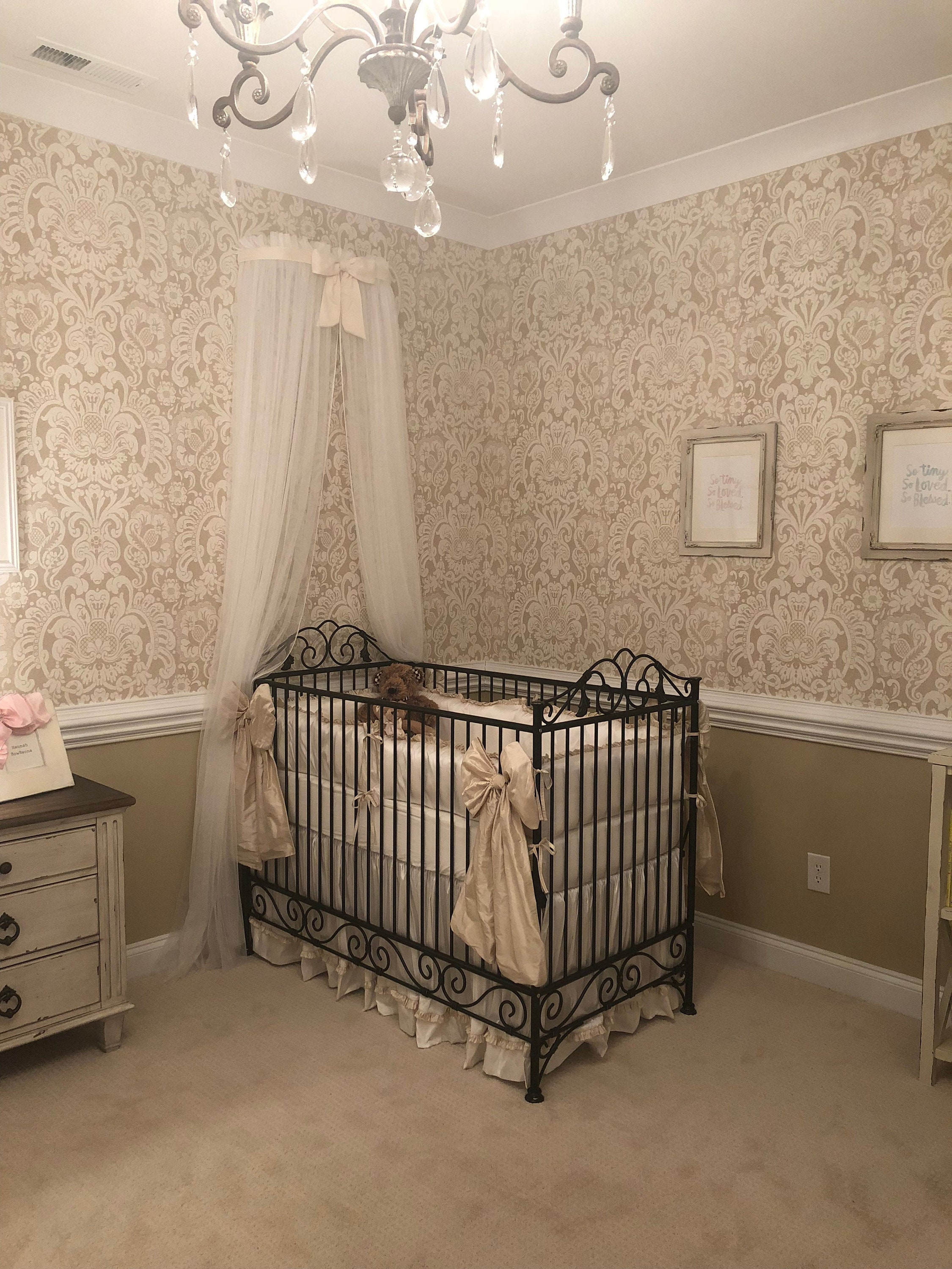 - Princess Bed Canopy CrOwN FrEe White Sheer Curtain IVORY Bow Etsy