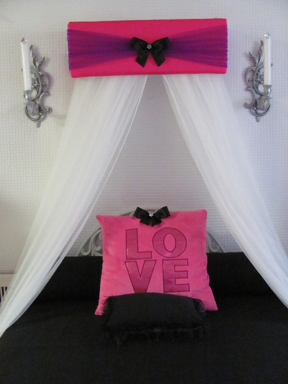 Girls Bed Canopy nursery baby bedroom Hot Pink Purple Black Princess FREE  WhItE ShEeR Curtains SHIPPING Custom made So Zoey Boutique SALE