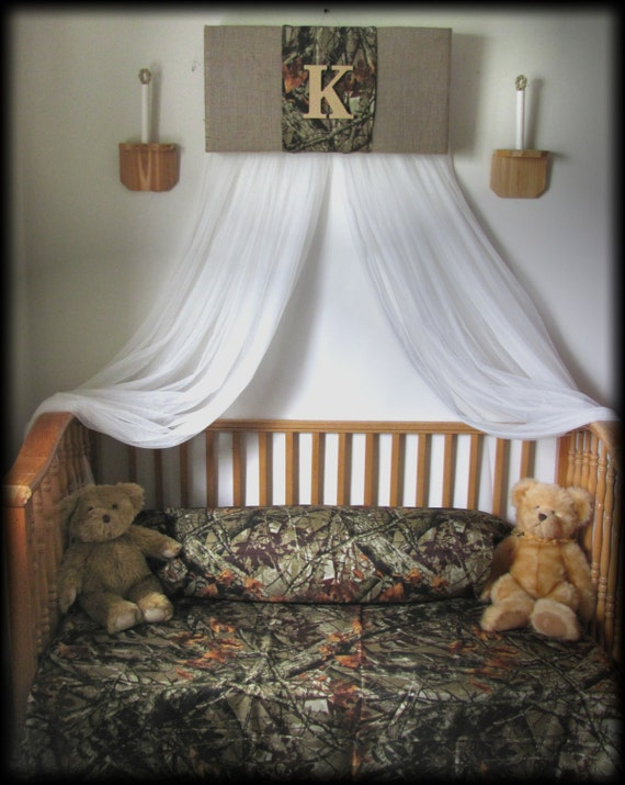 Crib Canopy nursery Bedroom Realtree Camouflage Mossy Oak cornice BoY  BuRLAP Camo Baby HunT WHITE sheer curtains Bed So Zoey Boutique SaLe