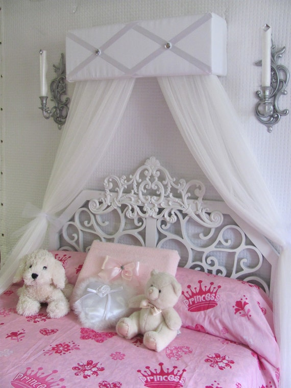 CrOwN Princess Bed Canopy girls bedroom nursery crib Ballet Pelmet  Upholstered Awning White FrEe ShiPPinG Custom So Zoey Boutique SALE