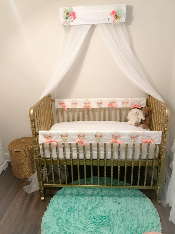 Bed Canopy Girl nursery baby Crib Shabby chic bedroom cornice Coral Aqua  Barn Wood Rustic Cottage FREE Curtains So Zoey Boutique custom Sale
