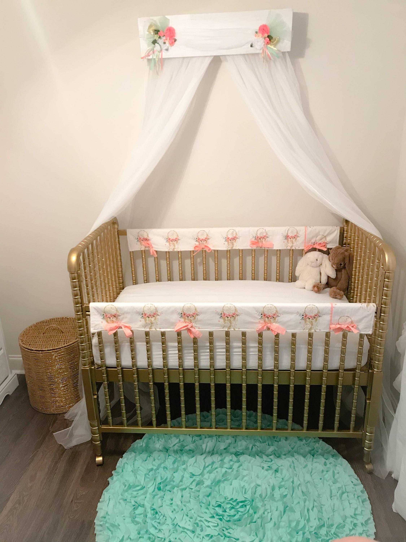 Bed Canopy Girl nursery baby Crib Shabby chic bedroom cornice