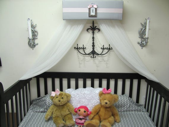 Bed Canopy girls bedroom nursery crib CrOwN Pelmet Upholstered Awning GRAY  White PINK Princess FrEe ShiPPinG Custom So Zoey Boutique SALE