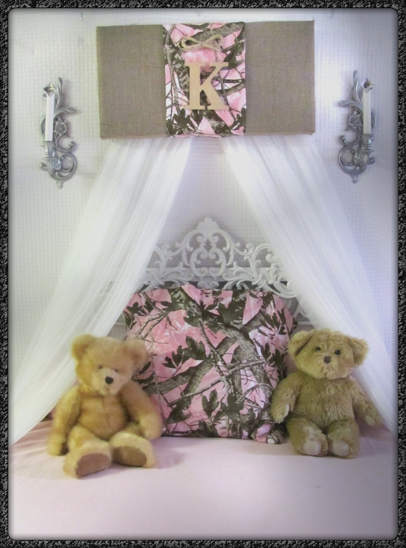 Bedroom Realtree Mossy Oak cornice Camouflage BuRLAP Camo Crib Canopy  nursery PINK Baby Girls WHITE sheer curtains Bed So Zoey Boutique SaLe