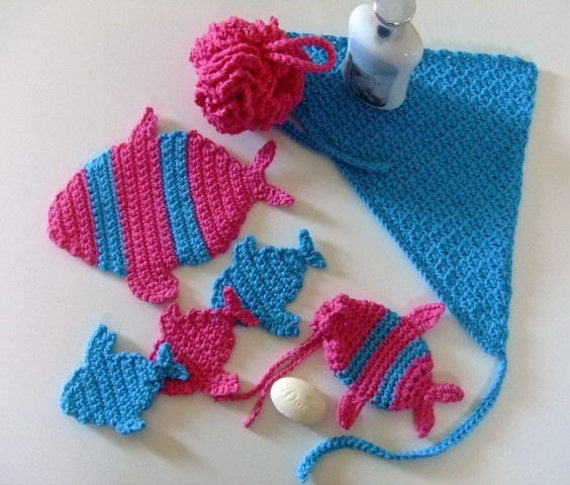Crochet Pattern Cv070 The Spa Experience Shower Puff Fish Soap Holder Facial Scubbies Kerchief Pdf Download