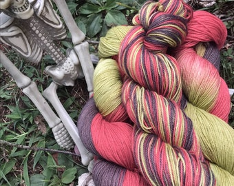 The Stuff of Nightmares - hand dyed new superwash Merino/nylon sock yarn, 420 yards 100 grams