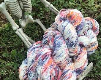 Trick or Treat - hand dyed new superwash Merino/nylon sock yarn, 420 yards 100 grams