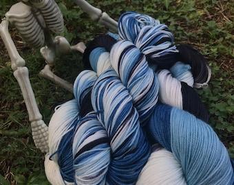 Emily, The Corpse Bride - hand dyed new superwash Merino/nylon sock yarn, 420 yards 100 grams