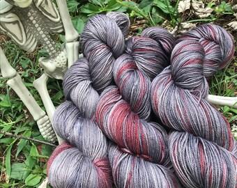 Nosferatu - hand dyed new superwash Merino/nylon sock yarn, 420 yards 100 grams