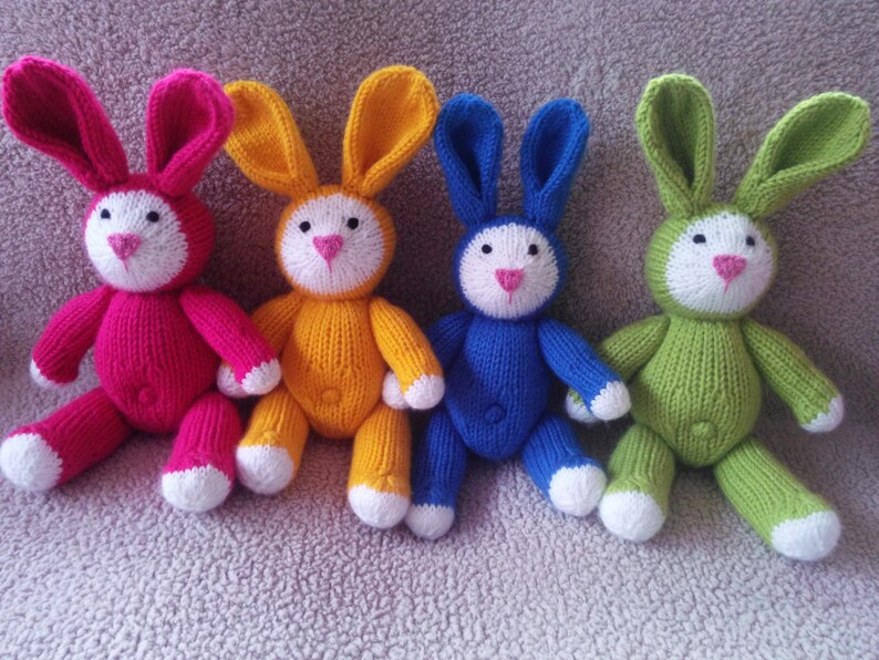 BRIGHTS! Knitted Bunny Rabbit Handmade-Pick a color