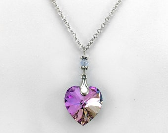 Pink and Purple, Crystal Heart Necklace, Heart Jewelry, Swarovski Elements, Pink Jewelry, Light Vitrail Crystal, Silver Plated, Gift For Her