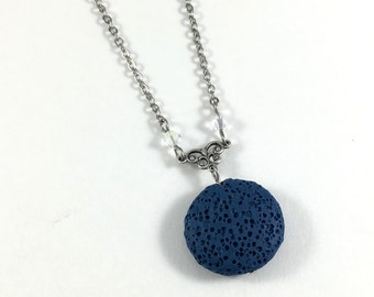 Blue Lava Stone Necklace, Essential Oil Jewelry, Aromatherapy Necklace, Lava Bead Jewelry, Lava Diffuser Necklace, Swarovski Crystals