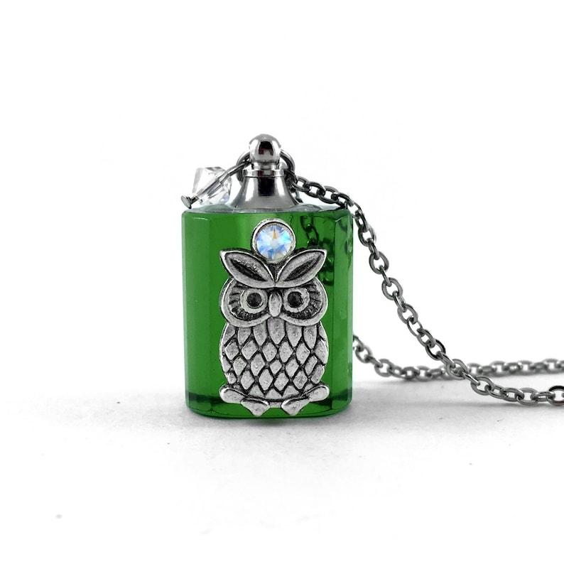 Essential Oil Diffuser Necklace Glass Bottle Owl Pendant image 0