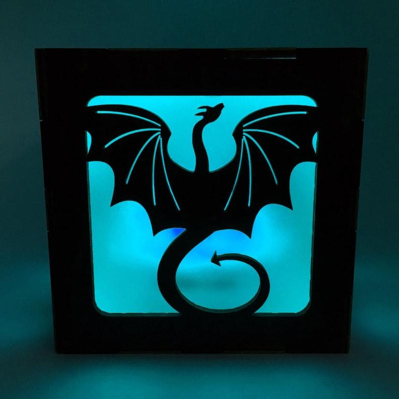 Dragon Wood Lantern LED Light Cube Candle Box Dragon Decor image 0