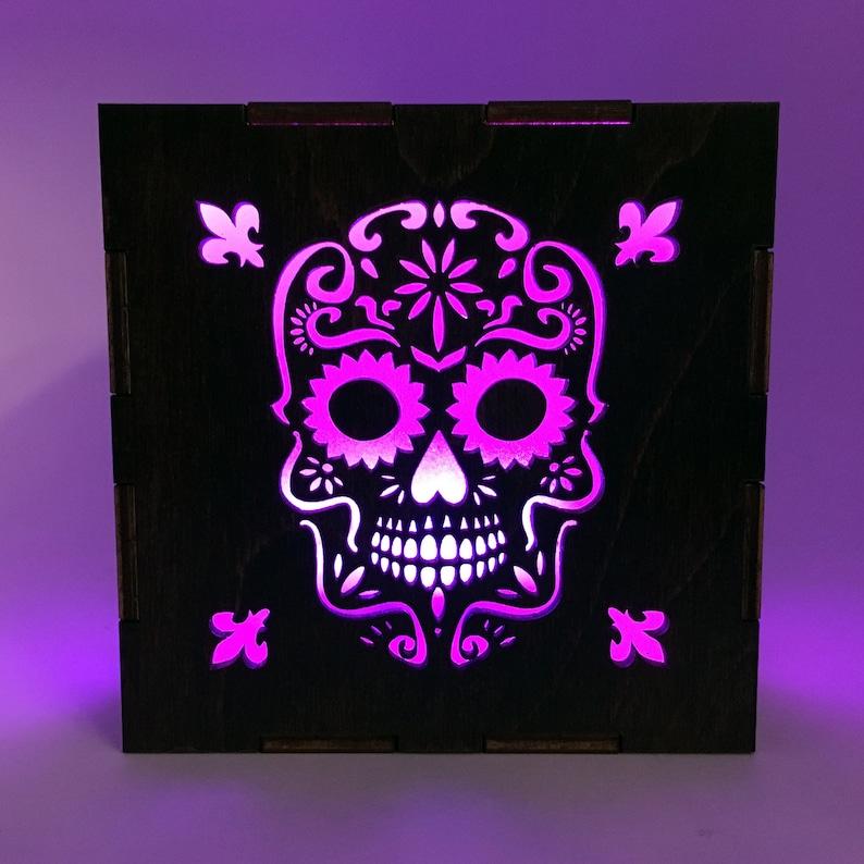Day of the Dead Wood Lantern LED Light Cube Sugar Skull image 0