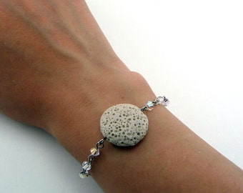 Tan Lava Bracelet, Essential Oil Bracelet, Lava Stone Jewelry, Diffuser Pendant, Aromatherapy Jewelry, Coin Pendant, Swarovski Crystals