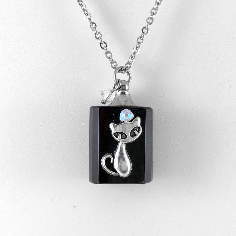 Essential Oil Diffuser Necklace Glass Bottle Cat Pendant image 0