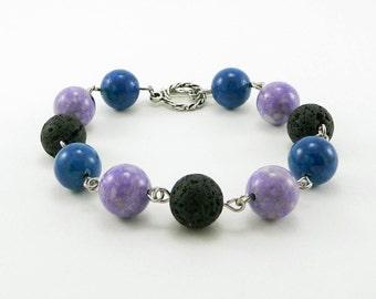 Essential Oil Bracelet, Lava Bead Bracelet, Lava Stone Jewelry, Diffuser, Purple and Blue Bracelet, Gemstone Bracelet, Aromatherapy Jewelry