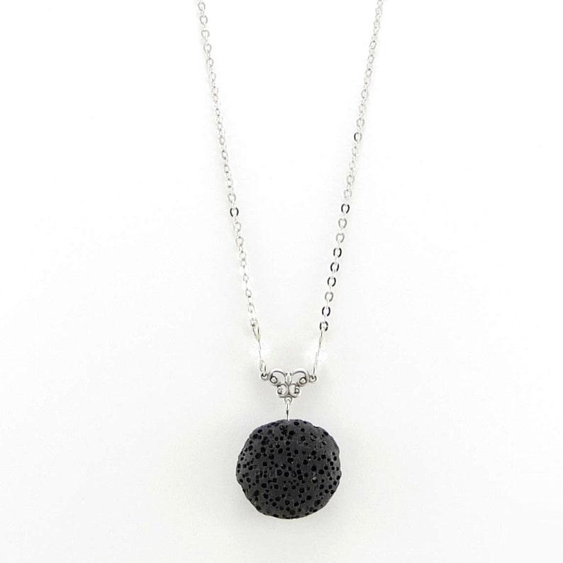 Black Lava Necklace Essential Oil Necklace Lava Stone image 1