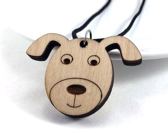Wood Dog Necklace, Wood Essential Oil Necklace, Laser Cut Jewelry, Wooden Dog Pendant, Dog Jewelry, Wood Necklace, Fashion Accessory