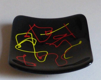 Fused glass plate - black abstract with cane work
